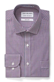 VAN HEUSEN RED AND NAVY CHECK SHIRT