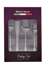 Milano decor 16pc black cutlery set