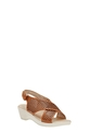 HUMAN MID WEDGE CROSS SANDAL FA, TAN, 37
