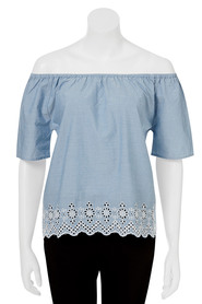 KHOKO Andrea Embroidered Off The Shoulder Blouse
