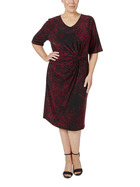 SIMPLY VERA VERA WANG Plus Size Side Knot Detail Printed Jersey Dress