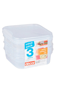 DECOR Tellfresh Plastic Square Food Storage Container Set 3 X 500Ml