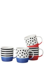 CASA DOMANI COLOUR BLOCK 4 PIECE MUG SET 350ML