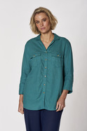LINEN BUTTON SLEEVE SHIRT
