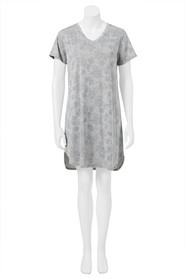 SASH & ROSE WOMENS V-NECK PRINT NIGHTIE WITH CURVEDHEM STYLE HZD1954
