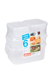DECOR Tellfresh plastic 6 pack oblong food storage container set