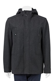 URBAN JEANS CO MELTON JACKET WITH CONCEALED PLACKET AND HOOD