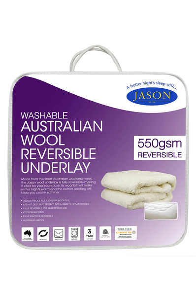 Jason Australian 550gsm Wool UnderlaySingle Double Queen KingReversible