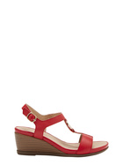 HUSH PUPPIES GREECE LEATHER STRAP WEDGE HEEL