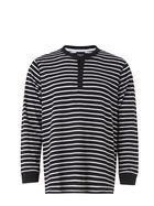 BRONSON CASUAL York Henley Waffle Stripe Long Sleeve Tee