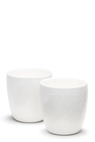 SALT & PEPPER Embossed Line Double Wall 2PC Ceramic Mugs 300mL