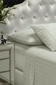 REFERENCE 1200 Thread Count Damask Stripe Polyester/Cotton Sheet Set Queen Bed