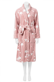 SASH & ROSE WOMENS PRINT FLEECE GOWN