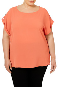 KHOKO PLUS Cap Sleeve Blouse