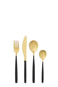 SHAYNNA BLAZE Kingscote Black and Gold Cutlery set 32pc