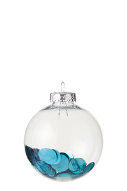 SOREN Classic Clear Bauble with Metallic Confetti Blue