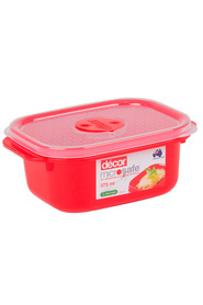 DECOR Microsafe Microwavable Oblong Food Storage Container 375Ml