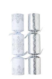 TOM SMITH Premium Silver and White Snowflake Crackers 6 Pack