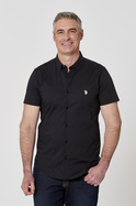 U.S. POLO ASSN. SHORT SLEEVE POPLIN STRETCH SHIRT WITH LOGO EMBROIDERY