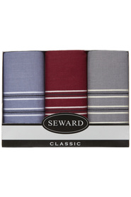 SEWARD Men'S  Box 3 Woven Handkerchiefs