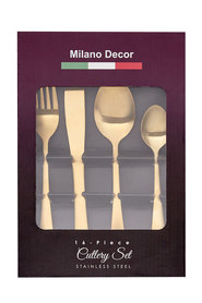 MILANO DECOR 16PC MATTE GOLD CUTLERY SET