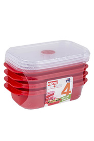 DECOR Microsafe microwavable oblong food storage containers 4 pack 900mlContainer set