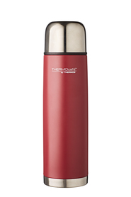THERMOS THERMOCAFE STAINLESS STEEL VACUUM INSULATED SLIMLINE FLASK 1L MATTE RED