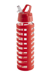 SMITH & NOBEL  Glass Drink Bottle With Silicone Wrap Red