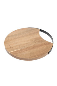WILTSHIRE Artisan Round Acacia Chopping Board With Matte Black Metal Handle 30Cm