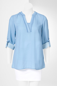 SIMPLY VERA VERA WANG 3/4 Roll Sleeve Top