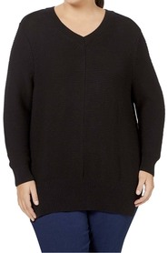 KHOKO PLUS  VEE NECK COTTON BLEND PULLOVER