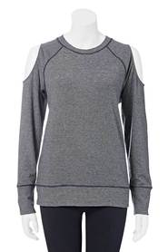 LMA ACTIVE Womens Cold Shoulder Stripe Crew
