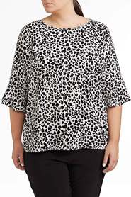 KHOKO PLUS PEBBLE CREPE PEPLUM SLEEVE BLOUSE