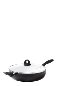 SMITH & NOBEL NORWICH WHITE CERAMIC NON STICK SAUTEPAN 30CM