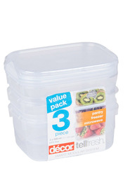 DECOR Tellfresh Plastci Oblong Food Storage Container Set 3 X 500Ml