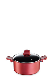 TEFAL CHARACTER RED SHALLOW STEWPOT 24CM