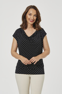 ROUCHED COWL NECK JERSEY TOP