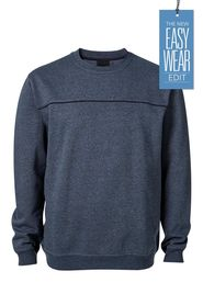 BRONSON CREW NECK FLEECE WITH CHEST PIPING