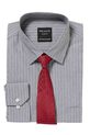 PELACO STRIPE SHIRT AND TIE PS, GREY, 42