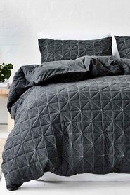 GAINSBOROUGH Pender Quilted Cotton Jersey Quilt Cover Set Queen Bed