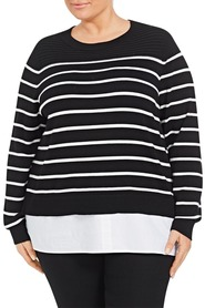 KHOKO COLLECTION Stripe Shirt Tail Plus Size