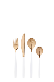 SHAYNNA BLAZE Kingscote white and gold cutlery set 32pc