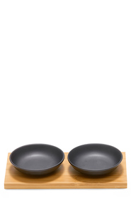 SALT & PEPPER KOBE 2PC DIP BOWLS WITH BAMBOO TRAY