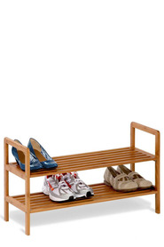 HONEY CAN DO 2 TIER BAMBOO SHOE SHELF