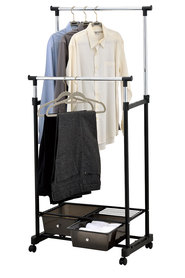 STORE & ORDER Double Garment Rack with 2 PP Drawers