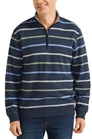 BACK BAY Classic French Rib Block Stripe Sweatshirt