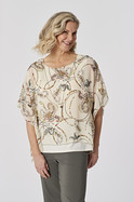 PRINT GEOGETTE FLOWY TOP WITH NECKLACE