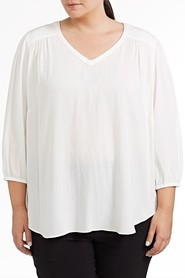 SIMPLY VERA VERA WANG PLUS Dobby Voile Peasant Top