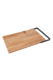 WILTSHIRE Artisan Rectangular Acacia Chopping Board With Matte Black Metal Handle 36 X 24Cm