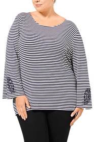 KHOKO COLLECTION Sasha Stripe Embroidered Top Plus Size